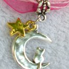 Dark Pink Ribbon Necklace ~ Sailor Moon Luna ~ Cat on a Crescent Moon Gold Star