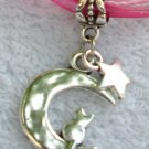 Dark Pink Ribbon Necklace ~ Sailor Moon Luna ~ Cat on a Crescent Moon Silver Star