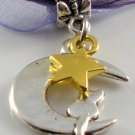 Purple Ribbon Necklace ~ Sailor Moon Luna ~ Cat on a Crescent Moon Gold Star