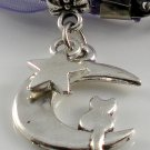Purple Ribbon Necklace ~ Sailor Moon Luna ~ Cat on a Crescent Moon Silver Star