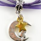 Dark Purple Ribbon Necklace ~ Sailor Moon Luna ~ Cat on a Crescent Moon Gold Star