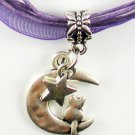 Dark Purple Ribbon Necklace ~ Sailor Moon Luna ~ Cat on a Crescent Moon Silver Star