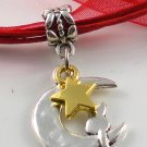 Red Ribbon Necklace ~ Sailor Moon Luna ~ Cat on a Crescent Moon Gold Star