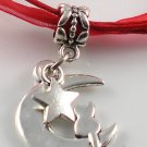 Red Ribbon Necklace ~ Sailor Moon Luna ~ Cat on a Crescent Moon Silver Star