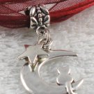 Dark Red Ribbon Necklace ~ Sailor Moon Luna ~ Cat on a Crescent Moon Silver Star