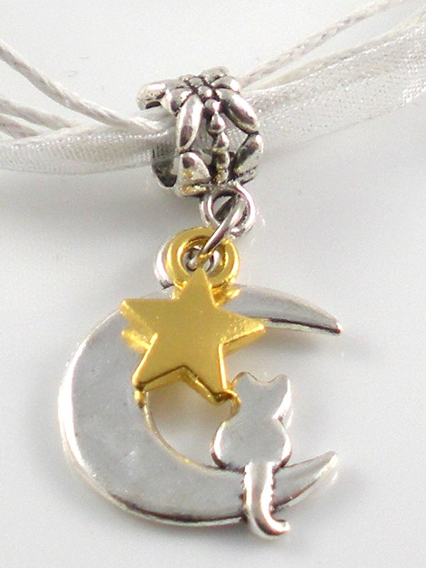 White Ribbon Necklace ~ Sailor Moon Luna ~ Cat on a Crescent Moon Gold Star