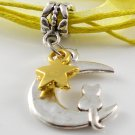 Yellow Ribbon Necklace ~ Sailor Moon Luna ~ Cat on a Crescent Moon Gold Star