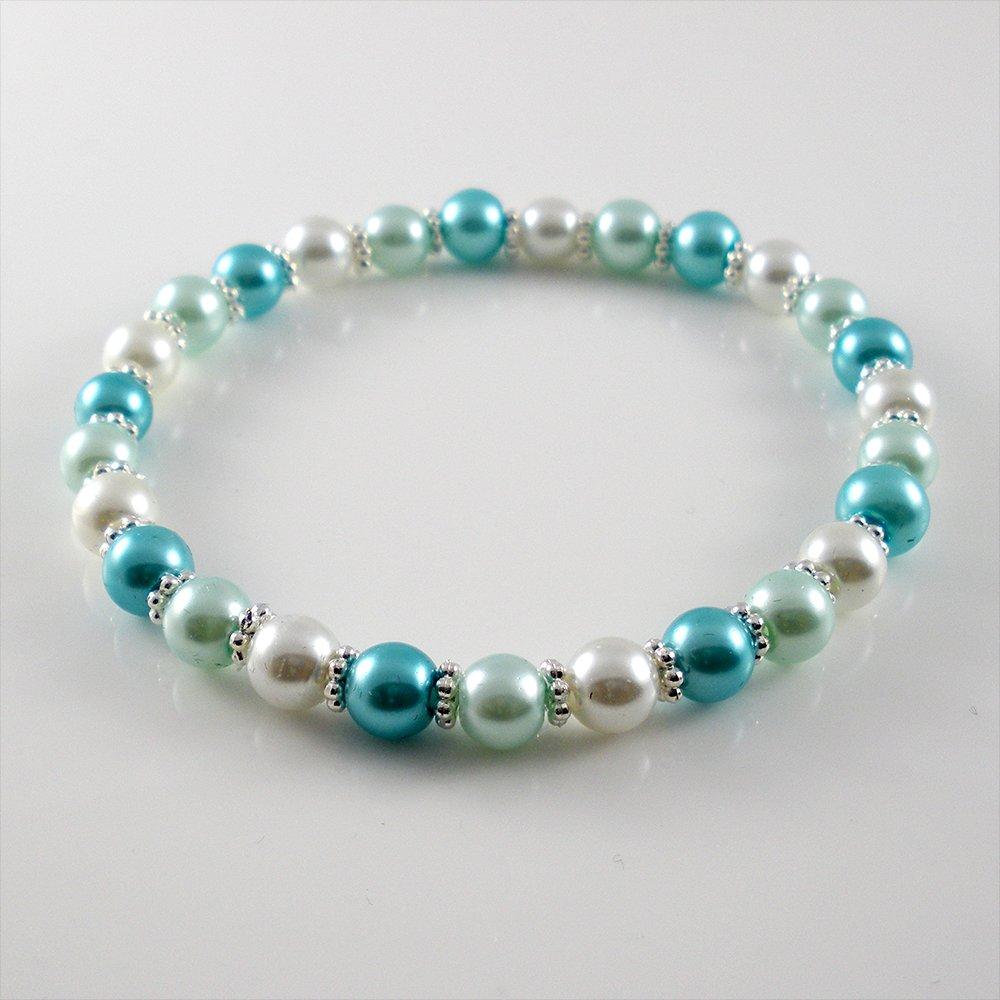 [01-33-34] [Silver] TriColor Kamala Glass Pearl Elastic Bracelet