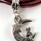 Maroon Ribbon Necklace ~ Sailor Moon Luna ~ Cat on a Crescent Moon Silver Star