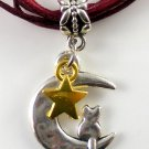 Maroon Ribbon Necklace ~ Sailor Moon Luna ~ Cat on a Crescent Moon Gold Star