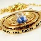 Harry Potter 18K Gold Plated Hermione's Time Turner Rotating Hourglass Necklace (Blue)