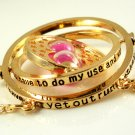 Harry Potter 18K Gold Plated Hermione's Time Turner Rotating Hourglass Necklace (Pink)