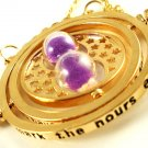 Harry Potter 18K Gold Plated Hermione's Time Turner Rotating Hourglass Necklace (Purple)
