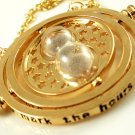 Harry Potter 18K Gold Plated Hermione's Time Turner Rotating Hourglass Necklace (Beige)