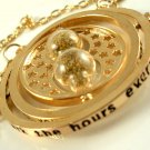 Harry Potter 18K Gold Plated Hermione's Time Turner Rotating Hourglass Necklace (Sand)