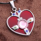 Sailor Moon Heart Pendant Necklace (Silver Chain)