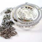 Harry Potter Silver Plated Hermione's Time Turner Rotating Hourglass Necklace (White)