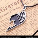 Black Fairy Tail Pendant Necklace (silver chain)