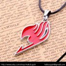 Red Fairy Tail Pendant Necklace (silver chain)