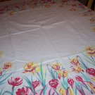 beautiful Springtime Tulips vintage tablecloth