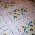 Wilendur Vintage daisy floral tablecloth