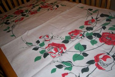 Vintage rose tablecloth Unique