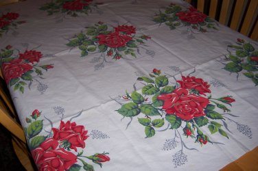 red roses wilendur vintage tablecloth