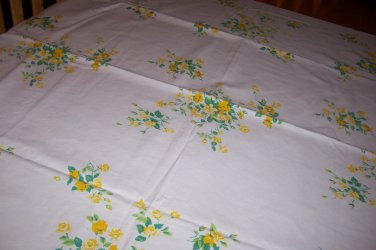 Charming Wilendur yellow princess rose vintage tablecloth