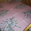 Pink Bouquets Vintage linen Tablecloth