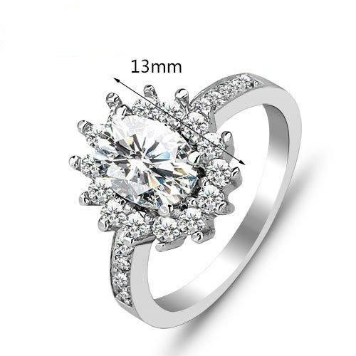 .925 Sterling Silver Engagement Ring Size 7