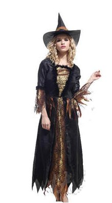 Free shipping Gold Witch Cosplay Costume