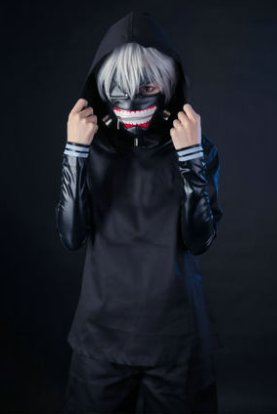 A Set Of Tokyo Ghoul Kaneki Ken Suit Cosplay Costume (Include:mask and wig)