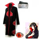 Naruto Akatsuki cloak  Uchiha Itachi  Cosplay Costume (include cloak,headband and rings)
