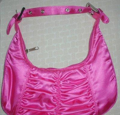 handbagbargains: Shiny Satiny Moon Shaped Purse, Pink