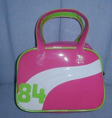 handbagbargains:  Pink and Green Plastic Vinyl Teen Handbag Purse