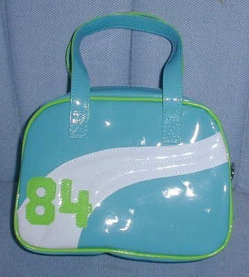 handbagbargains: Blue and Green Plastic Vinyl Teen Handbag Purse