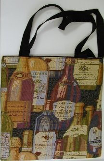 handbagbargains: Wine Bottle Print Tapestry Handbag Totebag