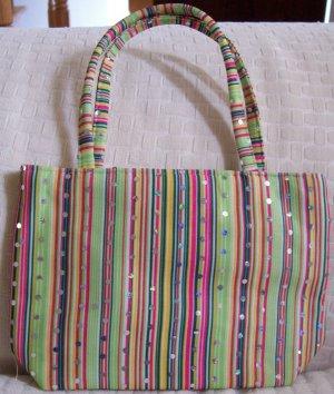 handbagbargains: Green Stripe and Rhinestone Handbag Purse Tote Mini