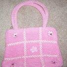 handbagbargains: Pink Knit Tic Tac Toe Pattern Rhinestone Purse