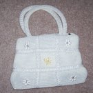 handbagbargains: White Knit Tic Tac Toe Pattern Rhinestone Purse