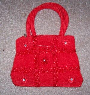 handbagbargains: Red Knit Tic Tac Toe Pattern Rhinestone Purse