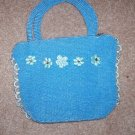 handbagbargains: Blue Knit Flower and Rhinestone Purse