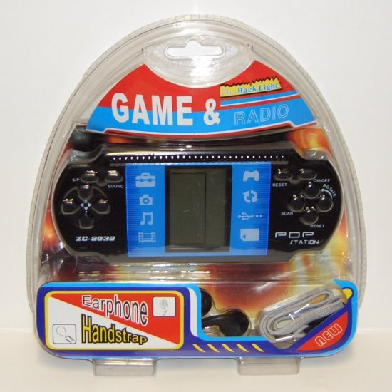 POP STATION ZC-2032 PORTABLE GAMING SYSTEM W/MULTIPLE GAMES & FM RADIO W/EAR PHONES IN 1