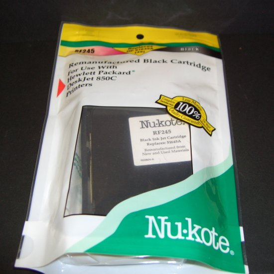 2  Black NU-Kote RF245 Rem. Inkjet Cartridges For HP Deskjet 850c Printers Ink Replaces 51645A (45)