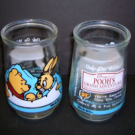Collectible Welch's Jelly Jar 1 of 6 Rabbit & Pooh ~ Pooh's Grand Adventure