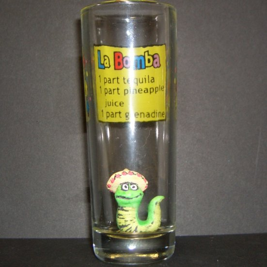 La Bomba recipe shot glass with the Worm
