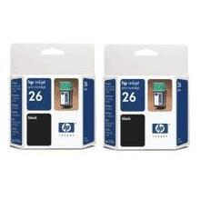 2 Hewlett Packard HP inkjet print cartridge #26 / 51626a  / HP51626a, HP 26 Black New in package