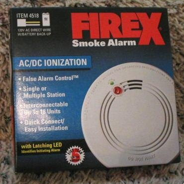 FIREX 4518 IONIZATION SMOKE ALARM 120v AC DIRECT WIRE with