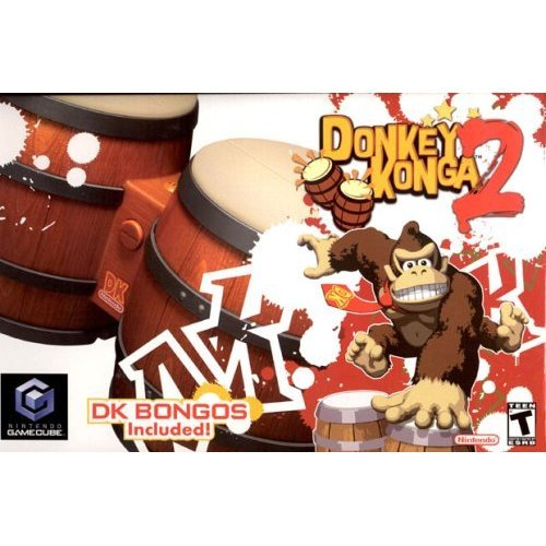 Nintendo Donkey Konga 2 Game with Bongo Controls For GC Wii GameCube