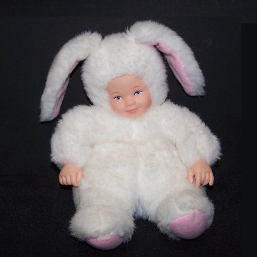 Anne Geddes Doll - White / Pink Baby Bunny - Bean Filled Collection (1997)